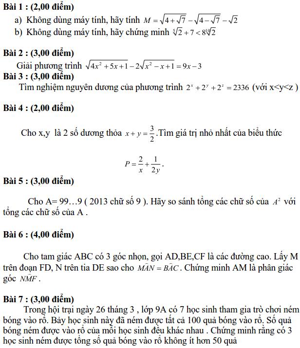 Đề thi HSG môn Toán lớp 9 tỉnh Khánh Hòa năm học 2012-2013