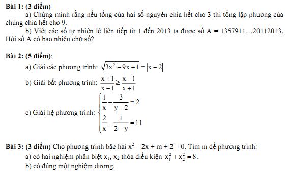 Đề thi HSG môn Toán lớp 9 tỉnh Vĩnh Long năm học 2012-2013