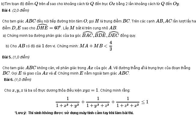 Đề thi HSG môn Toán lớp 9 TP Đà Nẵng năm học 2011 - 2012