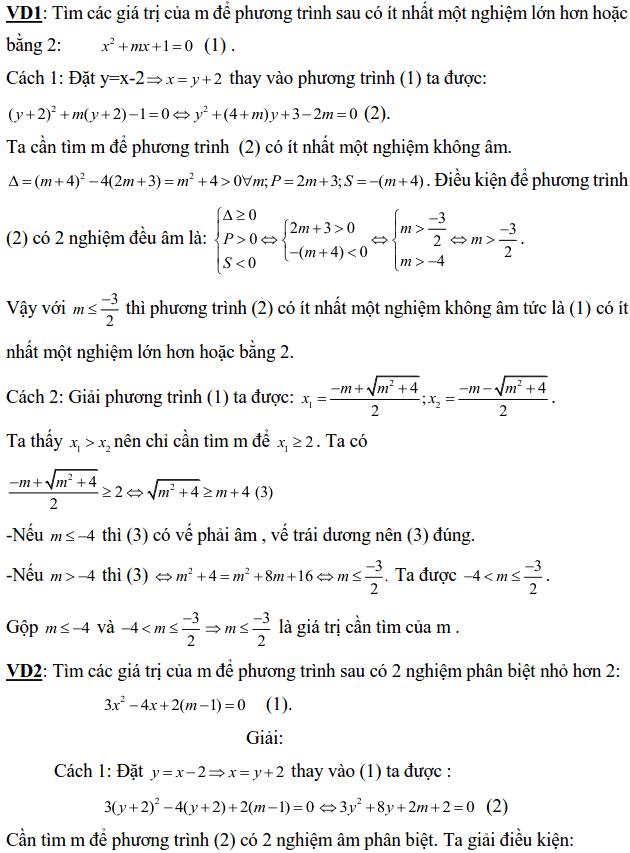 Điều kiện về nghiệm của phương trình bậc hai