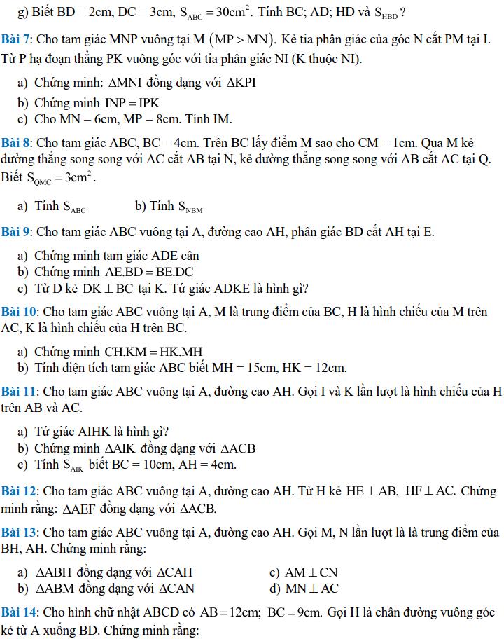 Một số bài tập về các trường hợp đồng dạng của tam giác - Hình học 8