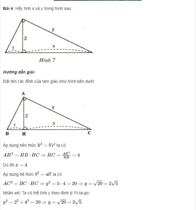 Ôn tập dạng toán phần Hệ thức lượng trong tam giác vuông của toán lớp 9