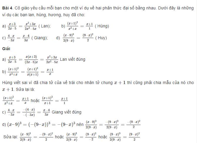 Tính chất cơ bản của phân thức trong toán đại lớp 8