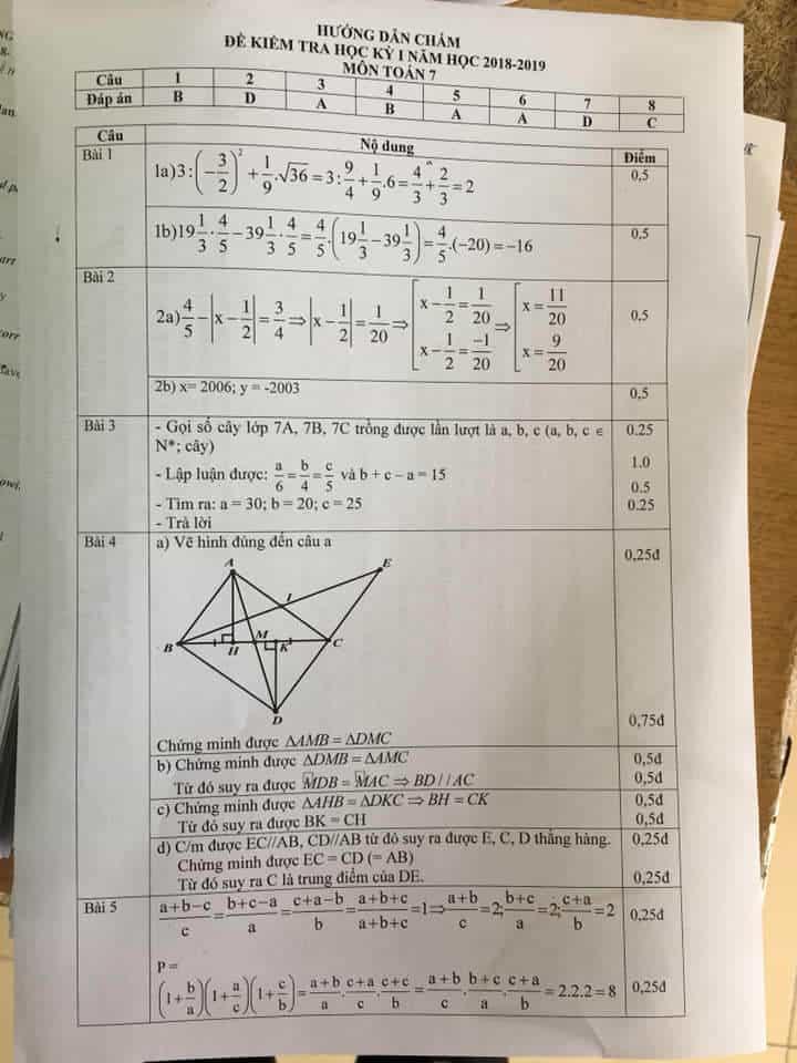 Đề kiểm tra học kì 1 môn Toán 7 huyện Thanh Trì 2018-2019 có đáp án-1