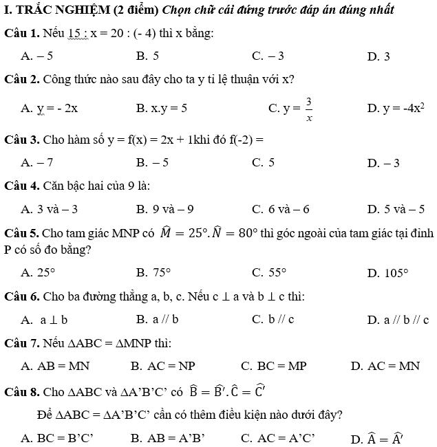 Đề kiểm tra học kì 1 môn Toán 7 THCS Mễ Trì năm 2018-2019