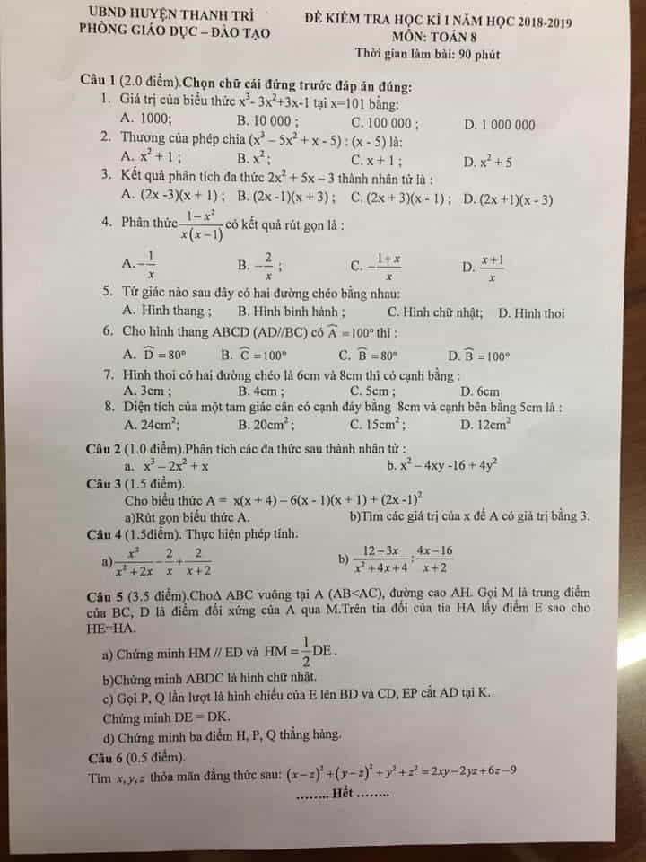 Đề kiểm tra học kì 1 môn Toán 8 huyện Thanh Trì 2018-2019 có đáp án
