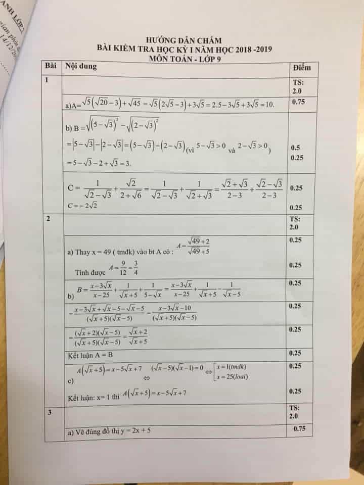 Đề kiểm tra học kì 1 môn Toán 9 huyện Thanh Trì 2018-2019 có đáp án-1