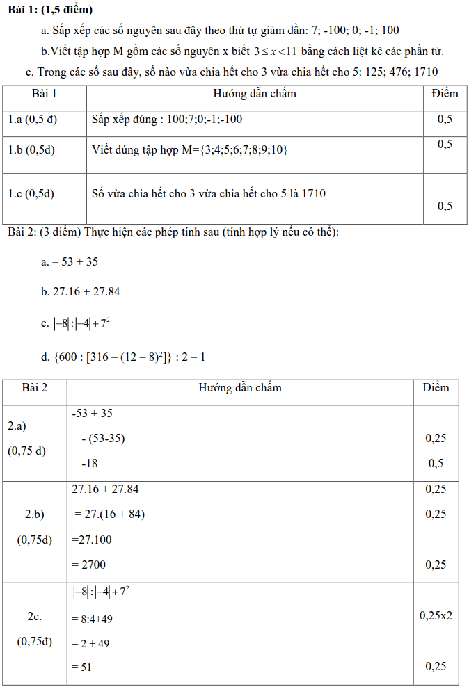 Đề kiểm tra Toán 6 HK1 huyện Xuyên Mộc năm 2018 – 2019-1