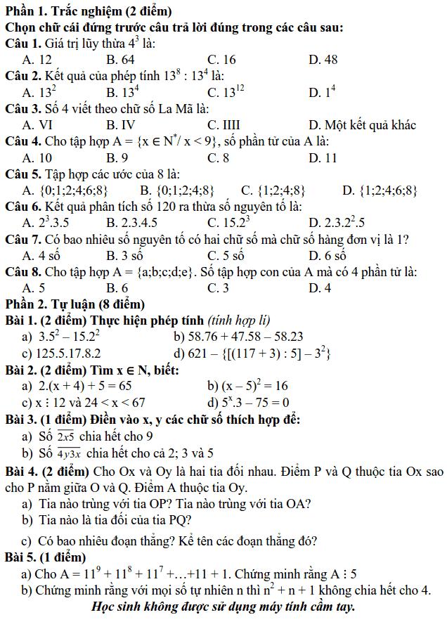 Đề kiểm tra giữa HK1 môn Toán 6 THCS Xuân La 2018-2019