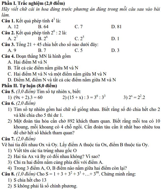 Đề kiểm tra giữa HK1 môn Toán 6 TP Ninh Bình 2018-2019 có đáp án