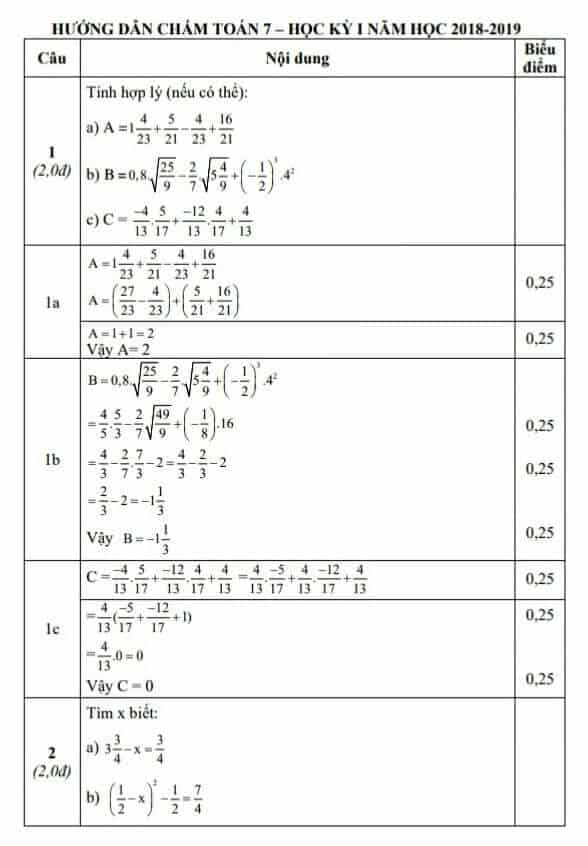 Đề kiểm tra học kì 1 môn Toán 7 huyện Thái Thụy 2018-2019 có đáp án-1