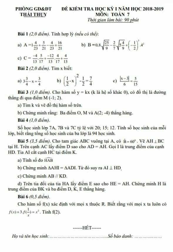 Đề kiểm tra học kì 1 môn Toán 7 huyện Thái Thụy 2018-2019 có đáp án