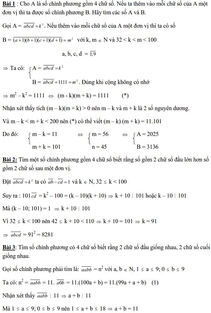 Chuyên đề Số chính phương và các dạng bài tập-10