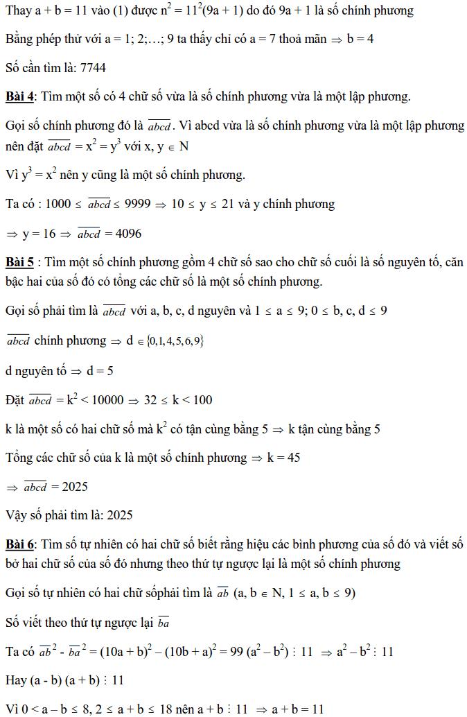 Chuyên đề Số chính phương và các dạng bài tập-11