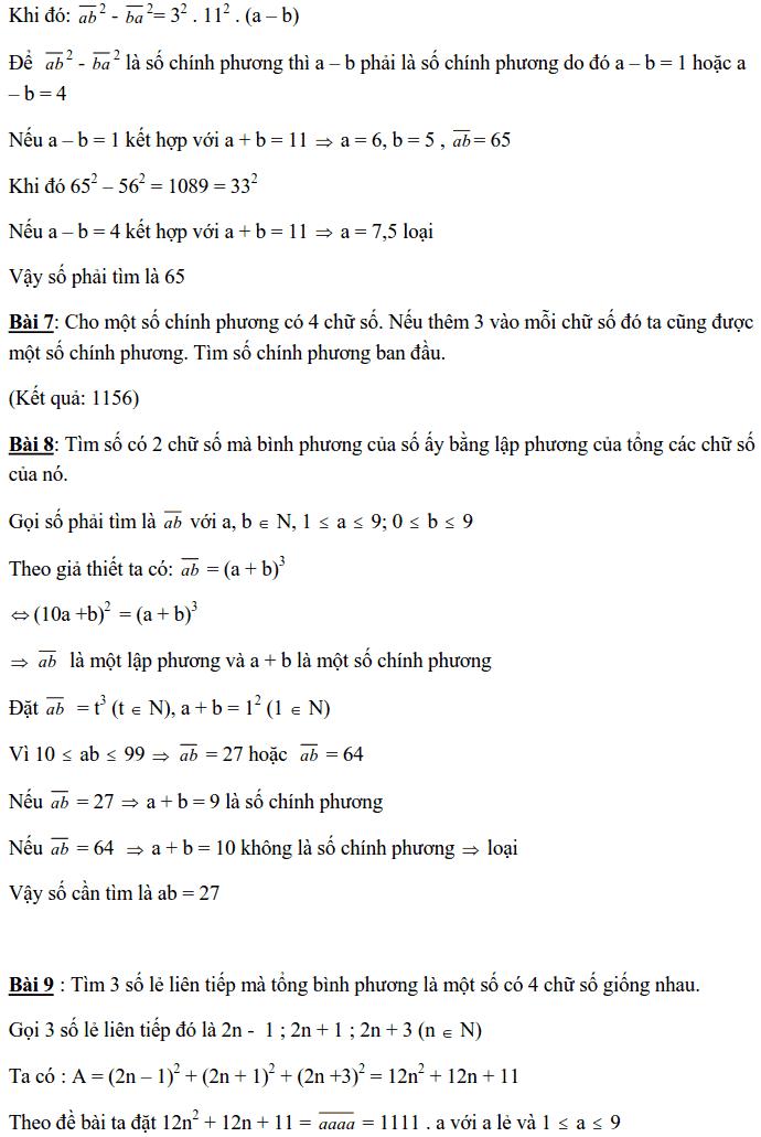 Chuyên đề Số chính phương và các dạng bài tập-12