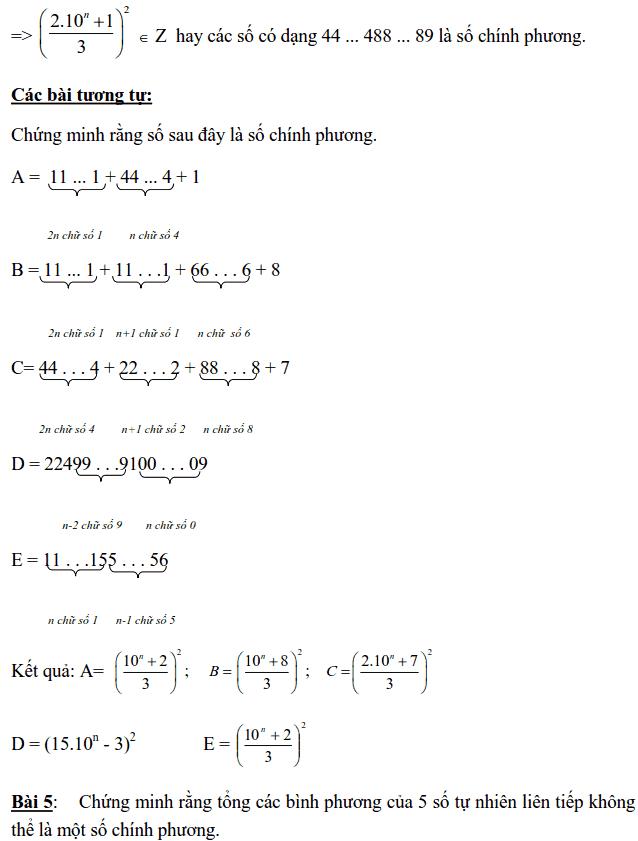 Chuyên đề Số chính phương và các dạng bài tập-2
