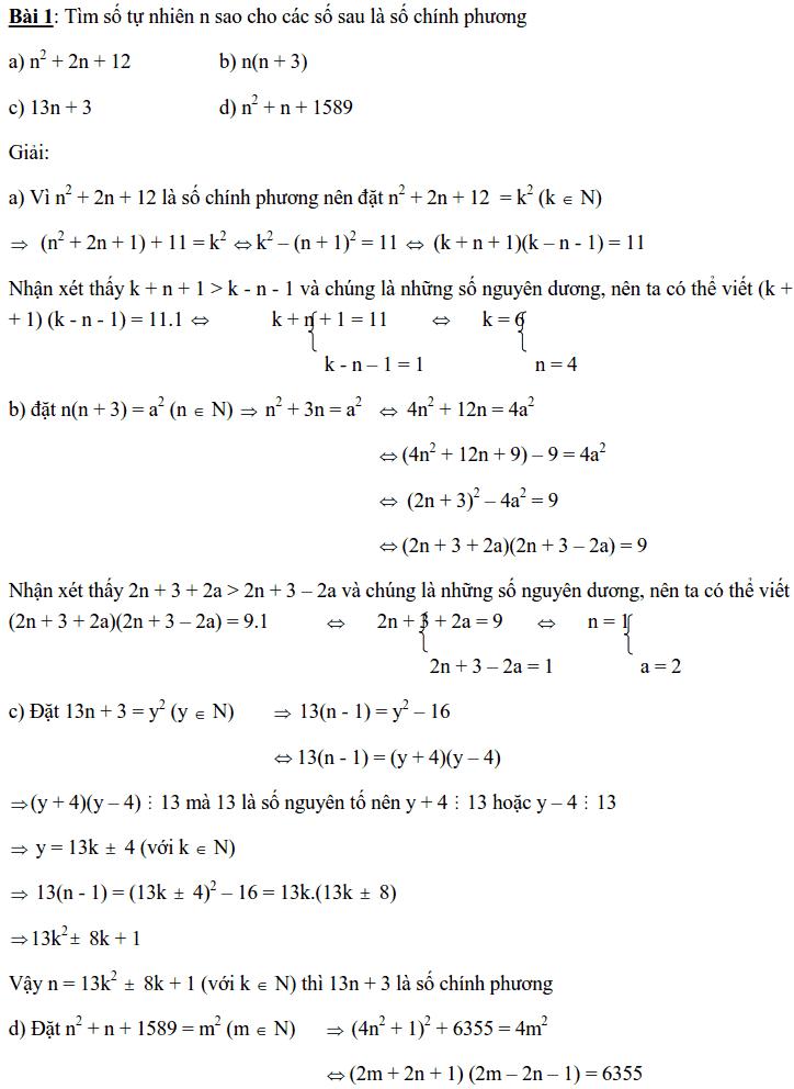 Chuyên đề Số chính phương và các dạng bài tập-6