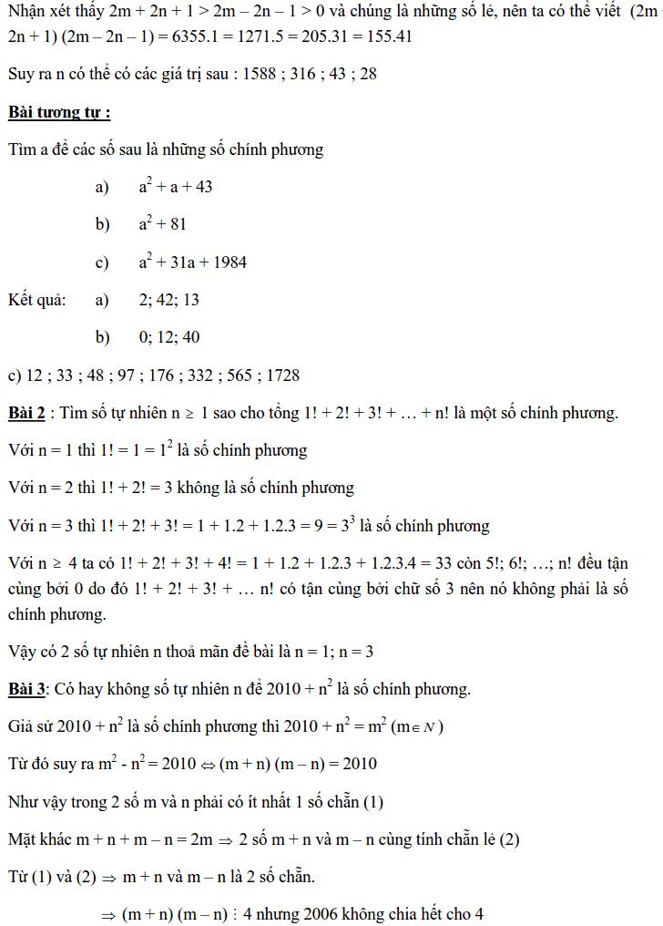 Chuyên đề Số chính phương và các dạng bài tập-7