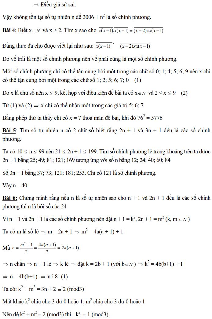 Chuyên đề Số chính phương và các dạng bài tập-8