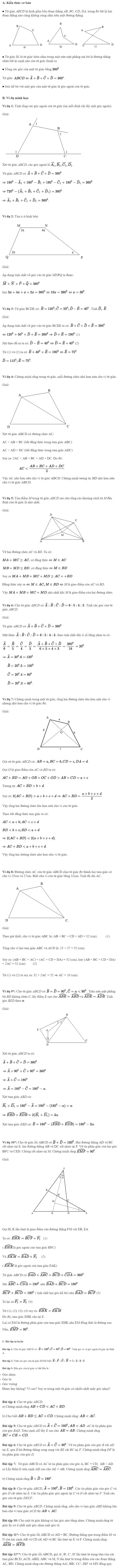 Chuyên đề Tứ giác - Hình học 8