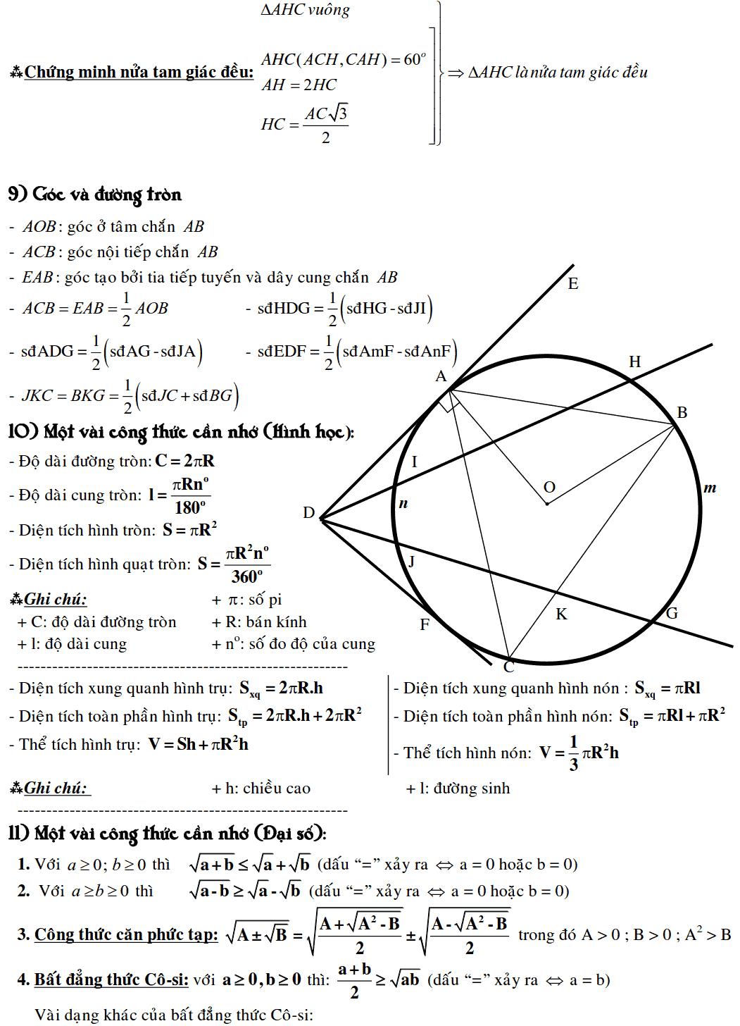 Công thức Toán 9 đầy đủ nhất-3