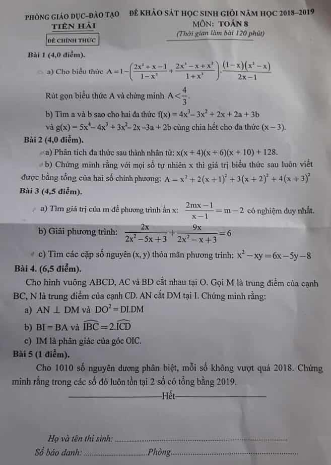 Đề thi HSG môn Toán 8 huyện Tiền Hải năm 2018-2019