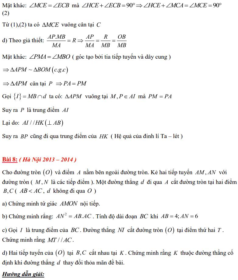 Tuyển tập các bài Hình học trong đề thi vào lớp 10 Hà Nội từ 2006 tới nay-13