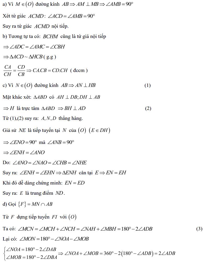 Tuyển tập các bài Hình học trong đề thi vào lớp 10 Hà Nội từ 2006 tới nay-19