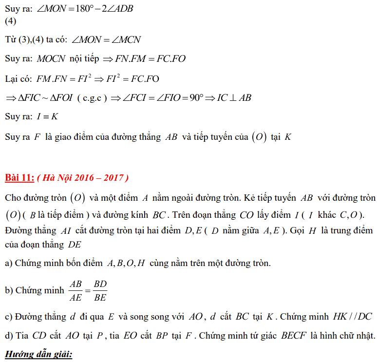 Tuyển tập các bài Hình học trong đề thi vào lớp 10 Hà Nội từ 2006 tới nay-20