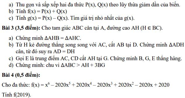Đề thi HK2 môn Toán 7 huyện Thanh Trì năm 2018-2019 có lời giải-1