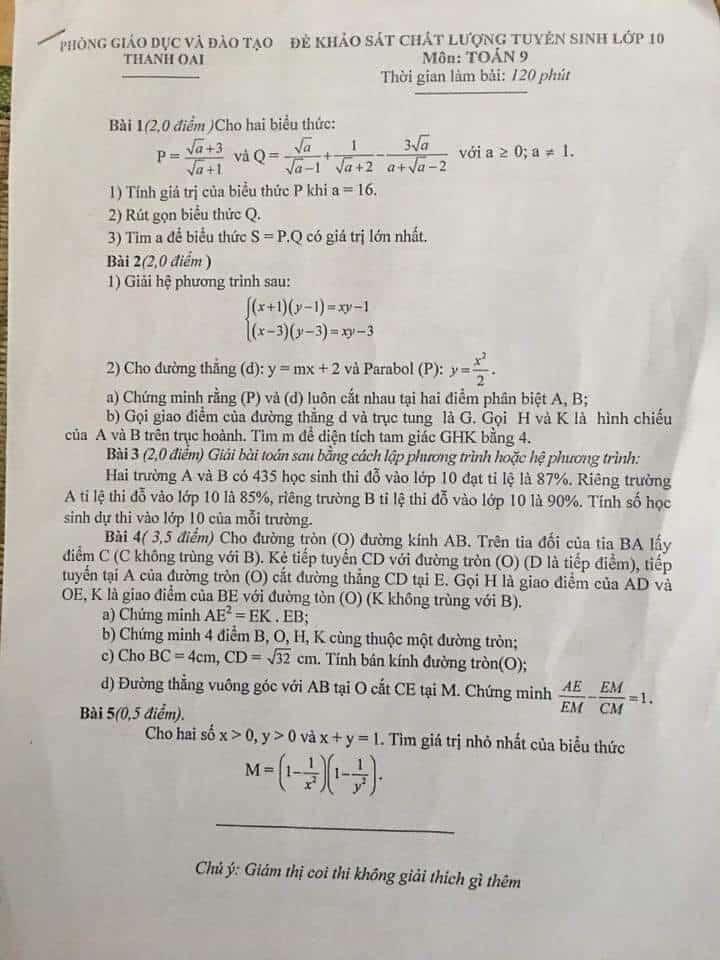 Đề thi thử vào 10 môn Toán huyện Thanh Oai 2017-2018 có đáp án