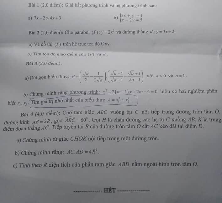 Đề thi môn Toán vào lớp 10 THPT tỉnh Ninh Thuận năm 2019-2020