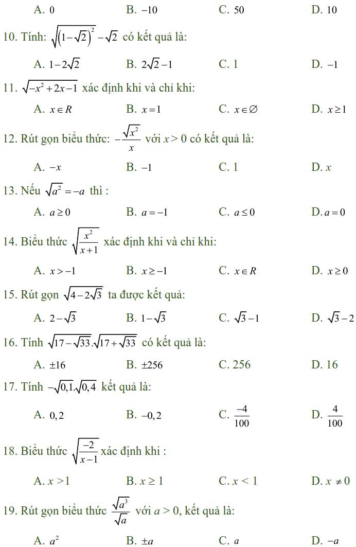 Bài tập trắc nghiệm điều kiện xác định của biểu thức, căn thức - Toán lớp 9-1