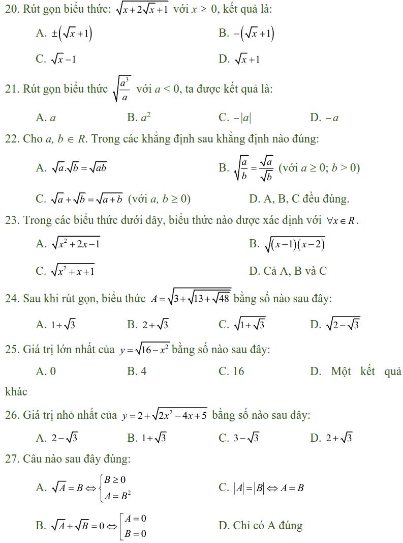 Bài tập trắc nghiệm điều kiện xác định của biểu thức, căn thức - Toán lớp 9-2