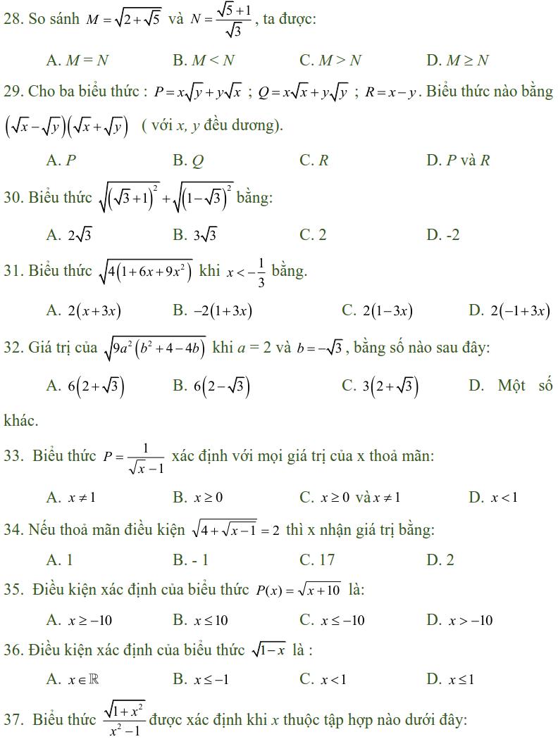 Bài tập trắc nghiệm điều kiện xác định của biểu thức, căn thức - Toán lớp 9-3