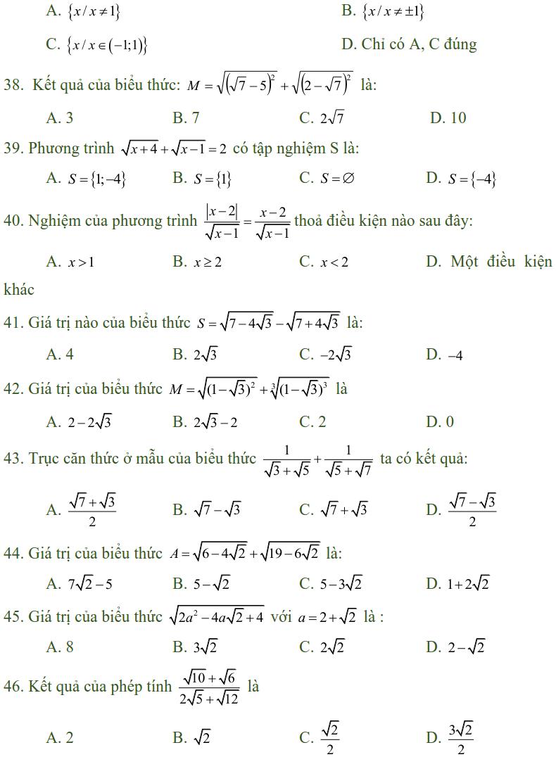 Bài tập trắc nghiệm điều kiện xác định của biểu thức, căn thức - Toán lớp 9-4