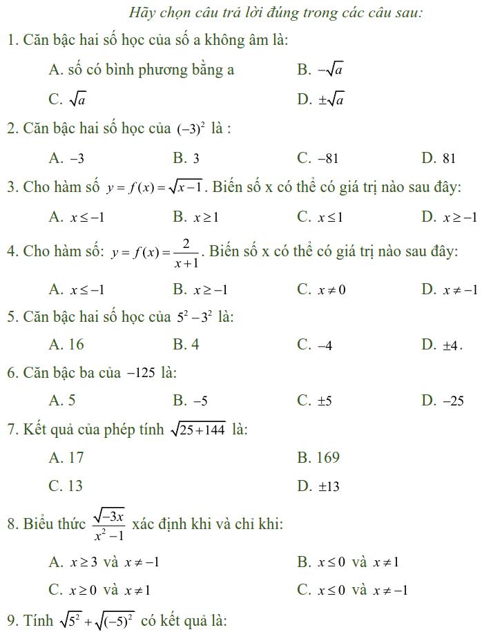 Bài tập trắc nghiệm điều kiện xác định của biểu thức, căn thức - Toán lớp 9
