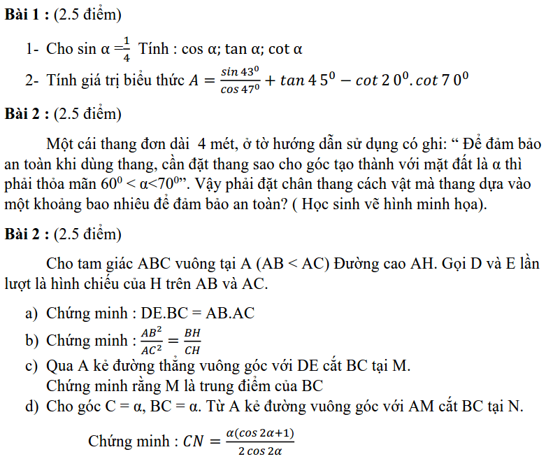 Đề kiểm tra 45 phút chương 1 Hình học 9 THCS Giảng Võ 2019-2020