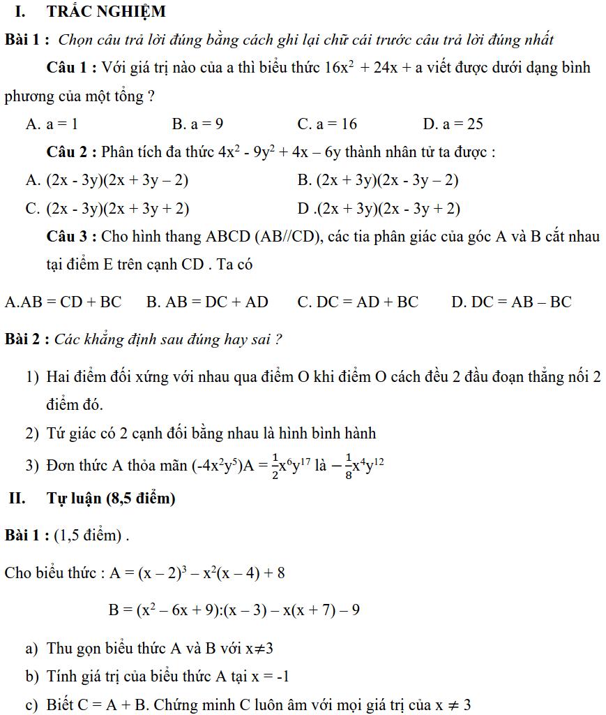 Đề kiểm tra giữa HK1 môn Toán 6 quận Nam Từ Liêm năm 2019-2020
