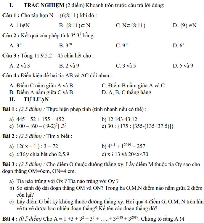 Đề KSCL giữa HK1 môn Toán 6 THCS Phan Đình Giót 2019-2020