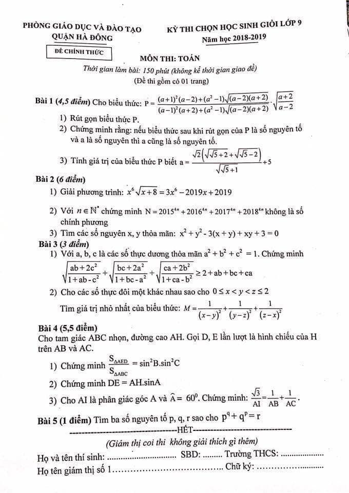 Đề thi HSG môn Toán lớp 9 quận Hà Đông 2018-2019