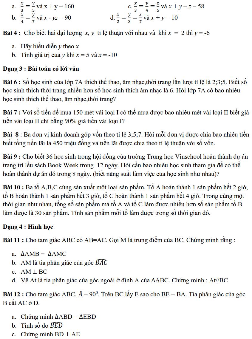 Đề cương ôn tập HK1 môn Toán 7 THCS Vinschool 2019-2020-1