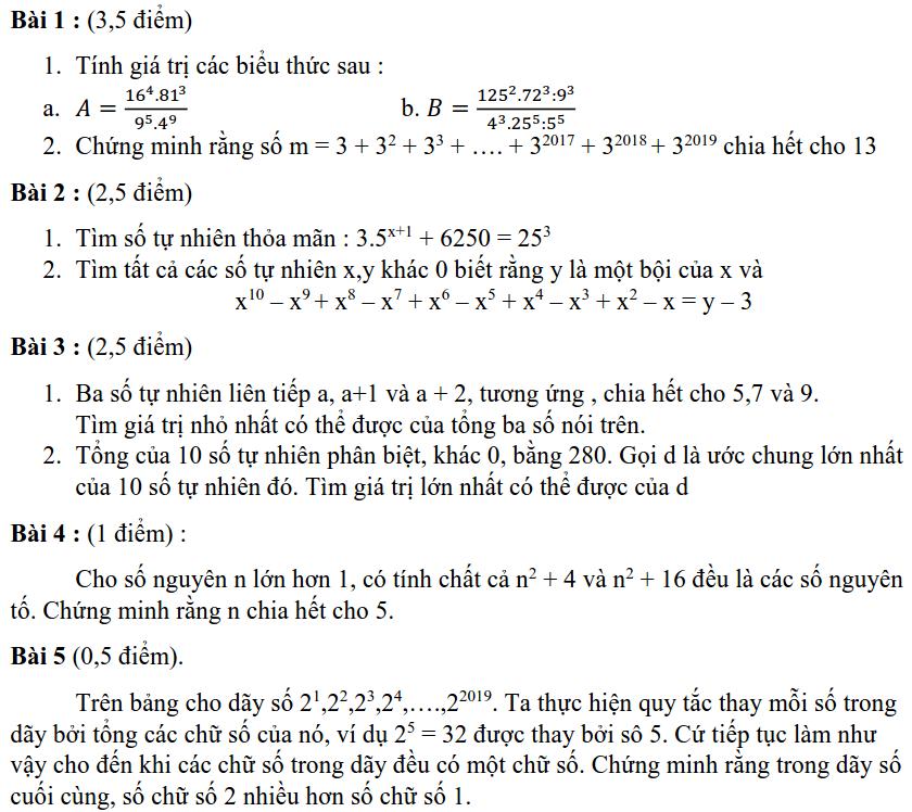 Đề kiểm tra chất lượng HK1 môn Toán 6 THPT chuyên Hà Nội - Amsterdam 2019-2020
