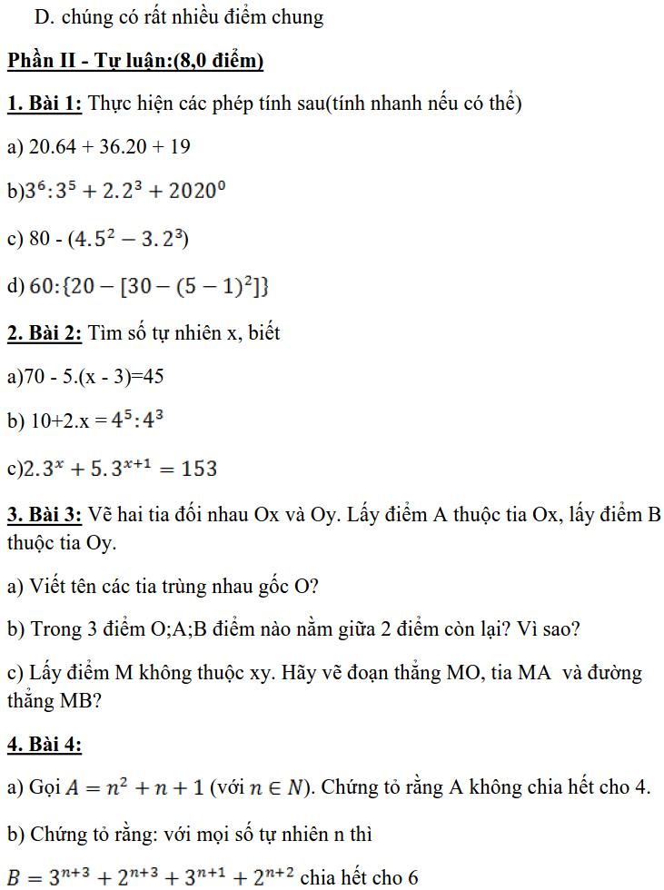 Đề kiểm tra giữa HK1 môn Toán 6 THCS Lương Thế Vinh 2019-2020-1