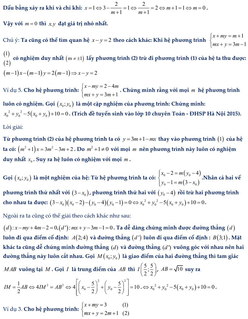 Dạng toán hệ phương trình bậc nhất chứa tham số-2