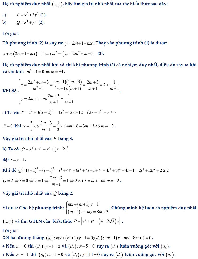 Dạng toán hệ phương trình bậc nhất chứa tham số-3