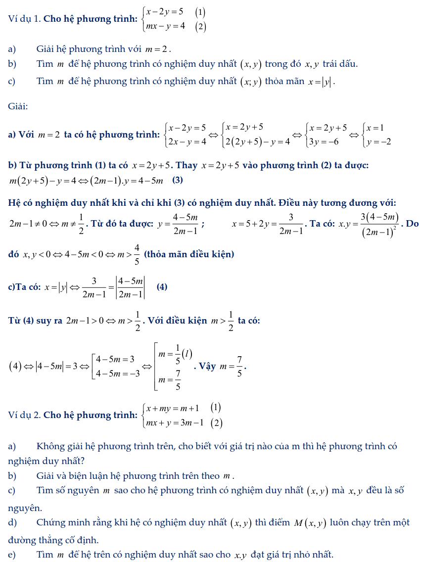 Dạng toán hệ phương trình bậc nhất chứa tham số