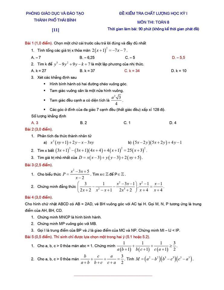Đề kiểm tra chất lượng HK1 môn Toán 8 TP Thái Bình 2019-2020-9