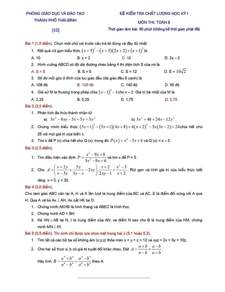 Đề kiểm tra chất lượng HK1 môn Toán 8 TP Thái Bình 2019-2020-11