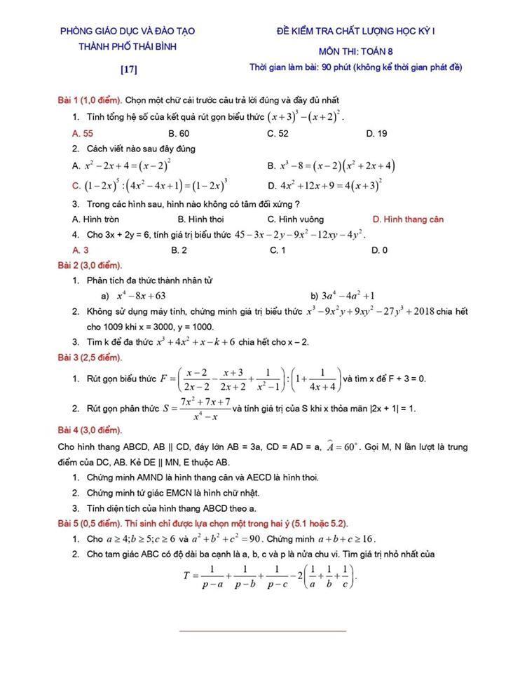Đề kiểm tra chất lượng HK1 môn Toán 8 TP Thái Bình 2019-2020-15